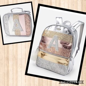 NWT Justice Glitter A stripe backpack & lunch tote